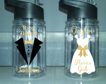 Ring bearer bottle, flower girl water bottle personalized flower girl cup, personalized ringbearer cup, wedding favor, wedding party bottle
