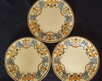 Antique French Faience Plates, 3 by Gien, 1871-1875, Mythical Sea Creatures Borders. Sensible offer considered