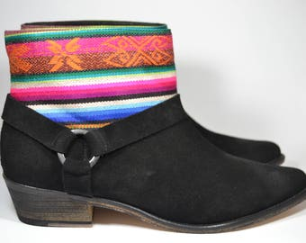 LEATHER ETHNIC BOOTS, Size 40, Black Boots, Ethnic Boots, Spanish Boots