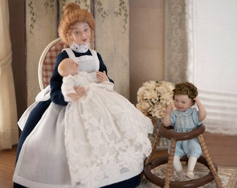 Babysitting or nanny, porcelain, articulated 1:12 scale (dollhouse). OOAK