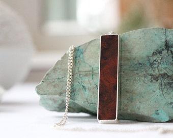 Amboyna Burl Wood Necklace - Silver