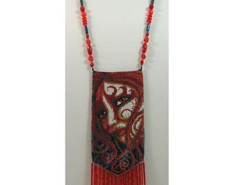 Pyra Female Fire Elemental Beaded Amulet Bag Necklace or Wall Art