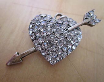 """vintage silvertone heart with arrow brooch or pendant studded with clear stones 2""""across"""