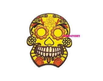 Yellow Sugar Flower Skull Ghost Halloween New Sew / Iron On Patch Embroidered Applique Size 7.4cm.x9.1cm.