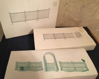 Department 56 Chain Link Fence and Gate and a White Picket Fence with Gate