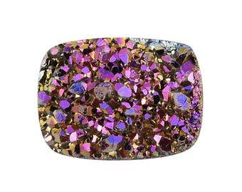 Purple Drusy Quartz Cushion Cabochon Loose Gemstone 1A Quality 8x6mm TGW 1.10 cts.