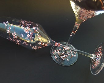 Set of 2 Wedding Champagne Flutes, Hand painted champagne flutes, cherry blossom champagne flutes, Champagne flutes