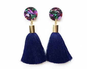 Navy tassel earrings. Rainbow glitter acrylic laser cut earrings with navy tassels