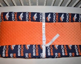 New  Changing Pad Cover m/w Denver Broncos Cotton  & Orange Minky Dot Fleece Fabric