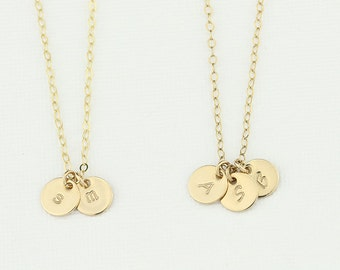 Mothers Necklace. Gold Initial Necklace Tiny Disk. Personalized Custom Initial. 14k Gold Fill Necklace. Kids Initial Monogram Circle pendant