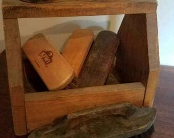 Vintage Wooden Shoeshine Box and Brushes