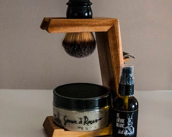 Shaving Kit with Wood Support - Beautiful Gift Set! Unique piece! - Shaving Brush Stand - Men beard care - Shaving brush - Men gift
