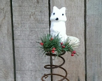 Rustic Christmas Tree Topper Bed Spring White Fox  Holiday Decor