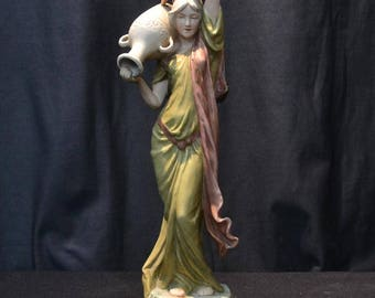 Art Nouveau Royal Dux polychrome porcelain of neo-classical woman with urn circa 1910