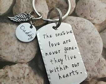 Hand stamped Aluminum Key chain-memorial key chain-daddy-angel wing-daddy in heaven-loss gift-personalized key chain-engraved key chain