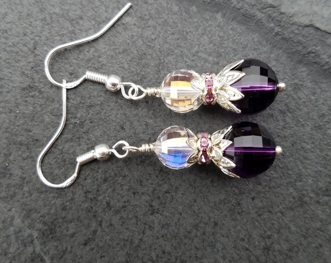 Lavender birthstone earrings, Amethyst purple genuine gemstone earrings, bridal purple quartz earrings, sobriety amethyst earrings