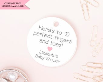 Here's to 10 perfect fingers and toes tags (30) - Nail polish tags - Baby shower nail polish tags - Mini tags - Nail polish favor tags