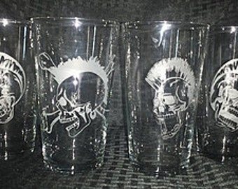 Punk Rock Skull Etched Pint Glasses (Set of 4)