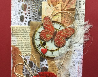Mixed media art - collage - Red
