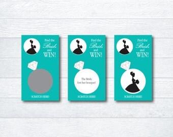 Bridal Shower Scratch Off Game - Bridal Shower Game - Bridal Scratch Off Cards - Bachelorette Party Game - Turquoise