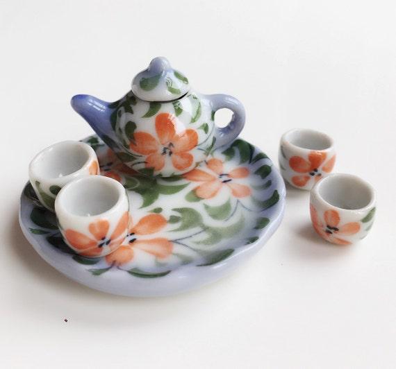 Miniature Tea Set,Miniature Chinese Tea Set,Miniature Drink,Dollhouse Tea set, Miniature Tea Pot with 4 cup Set