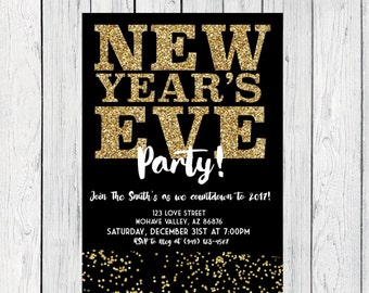 New Year's Eve Party- Gold Glitter & confetti and black and white  ***Digital File***  (NewYear-Glitter)