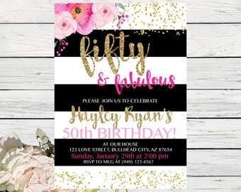 Fifty & Fabulous or Any Age Birthday Personalized Digital invitation - Pink, black, white with gold (Fifty-FabPnk)