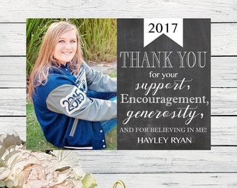 Graduation Thank you Card - PERSONALIZED - DIY Printing Digital file (Grad-Thanks)