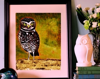 "Burrowing Owl with an Attitude, 11x14"" limited edition print"