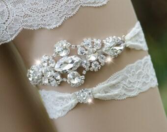 Bling Rhinestone Garter Set, Silver Bridal Garter, Rhinestone Garter, Keepsake Garter Set, Rhinestone Wedding Garter- KAYLA GARTER SET