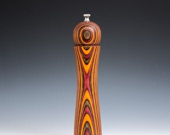 """Colorful, Handmade 10"""" Peppermill - Laminated , burgundy, brown and orange"""