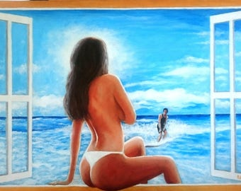 Erotic painting of a beauty and surfing dude, 52 x 80 cm