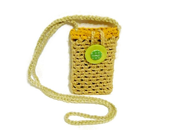Crochet Cell Phone Purse : Crochet Necklace Bag, Flip Phone Case, Cellphone Holder Crossbody bag ...