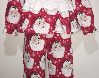 Girls Christmas Pajamas Long Sleeved Santa Claus Boutique Slumber Birthday Party Cotton Pajamas Ruffle Pant Set 2 3 4 5 6 7 8 10 12 14