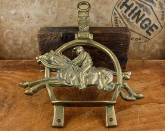 Vintage, Brass, Horse and Jockey, Tapestry Hanger.  Item235s
