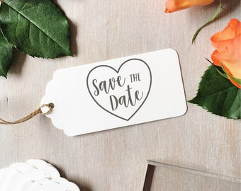 Save The Date Stamp | Wedding Stamp - Save The Dates - Heart Stamp - Brush Calligraphy