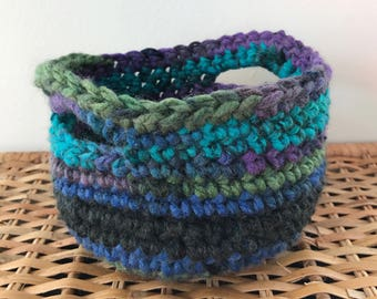 Crochet Basket: Blue/Green/Purple/Multicolour