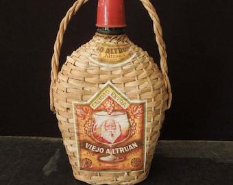 Wicker Wrapped Bottle Liquor - FREE SHIP -  Display Decor Eclectic Bohemian - Basket Wrap Viejo Glass Bottle - Bar Vintage Decor