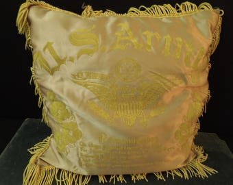 Military Souvenir Throw Pillow Flocked Gold with Eagle Design - Fringed Pillow Vintage - Camp Pickett VA
