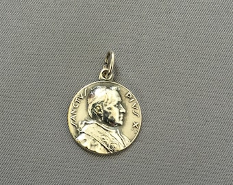 "Vintage Sterling Silver Religious ""Pope Saint Pius X"" Pendant"
