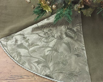 30 36 evergreen velvet embroidered silk mini christmas tree skirt dark - Small Christmas Tree Skirts