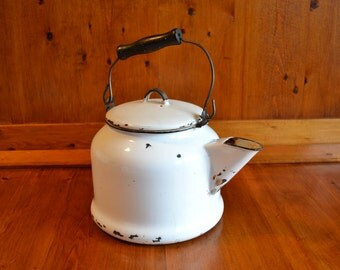 Enamelware 1 Gallon Kettle Vintage