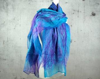 nuno felted silk scarf shawl, felted shawl, felted scarf, wool scarf, wrap scarf, turquoise, teal, purple- Feltmondo