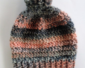 Crochet Chunky Hat in Peach and Grey
