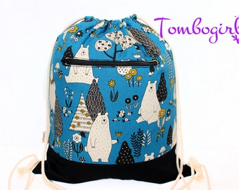 Childcare bag/ Waterproof Drawstring Backpack/ Wet Bag/ S, M, L or XL size, Australian made, Personalised , birthday gift–Woodland Bear Blue