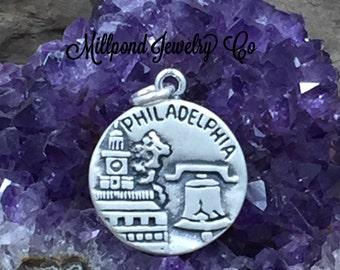 Philadelphia Charm, Philadelphia Pendant, Sterling Silver Philadelphia Charm, Sterling Silver Charm