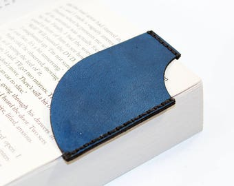 Leather bookmark, Blue bookmark, Bookmark Corner, Gifts for Booklover, Gifts for bookworms.
