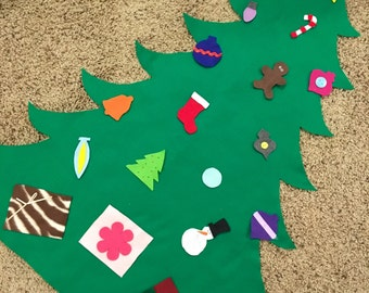 Felt Toddler Christmas Tree, fun toy holiday game kids baby play activity gift idea mini fabric portable wall decoration craft children home