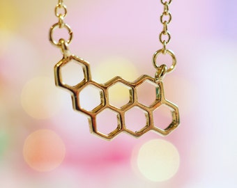 Dainty Gold Honeycomb Charm Necklace