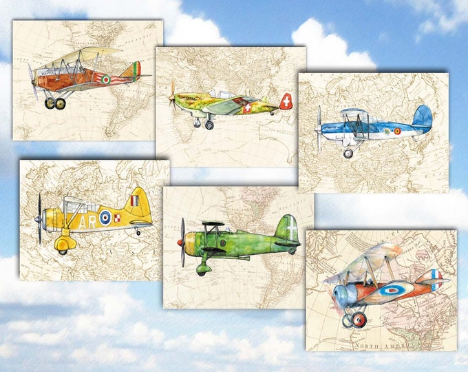 Set of 6 airplanes prints for boys nursery wall decor in aviation theme World map art Military prop aircrafts Retro airplane decor
